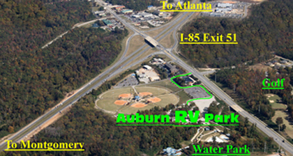 Auburn RV at Leisure Time Aerial of Interstate and Highway